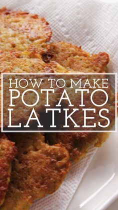 Our deli-style potato latkes recipe is made in the food processor! They're crispy on the outside and creamy on the inside. Serve hot with plenty of sour cream and applesauce! Kosher Recipes, Amish Recipes, Cooking Recipes, How To Make Potatoes, Hanukkah Food, Hannukah, Potato Latkes, Food Videos, Holiday Recipes