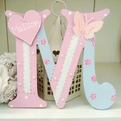 Shabby personalised girls handpainted roses wooden letter/name sign chic in Home, Furniture & DIY, Home Decor, Plaques & Signs | eBay