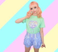 Japanese fairy kei brand Milklim t-shirt with pastel unicorn print and ribbon trim bowaround the heart. Harajuku Girls, Harajuku Fashion, Kawaii Fashion, Liz Lisa, Sanrio Hello Kitty, Unicorn Print, Little Twin Stars, Japanese Outfits, Kawaii Clothes