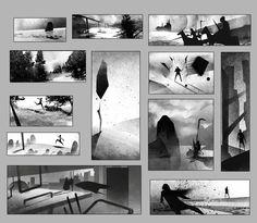 Composition Work, T. Notan Art, Value Drawing, Environment Sketch, Ap Studio Art, Ligne Claire, Composition Design, Animation Background, Visual Development, Elements Of Art