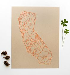 California Screen Print - 8.5x11 - Poppies - original screen print - ooak - state flower - california poppy - kraft - orange