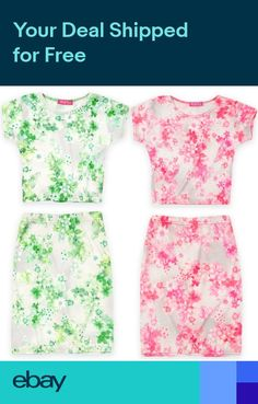 735fa240544b Girls Neon Floral Crop Top And Skirt Set Kids Outfit New Age 7 - 13 Years