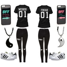 A fashion look from April 2016 featuring Topshop jeans, adidas Originals sneakers and JFR tech accessories. Browse and shop related looks. Twin Outfits, Funny Outfits, Teenage Outfits, Teen Fashion Outfits, Cute Casual Outfits, Outfits For Teens, Matching Outfits Best Friend, Best Friend Outfits, Best Friend Clothes
