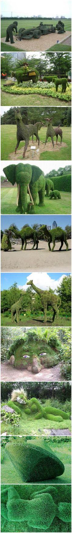 Best place for visit : 10 excellent garden grass sculpture artworks