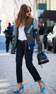 MOTO JACKET + WHITE T-SHIRT + BLACK JEANS (blue heels, whoo!)