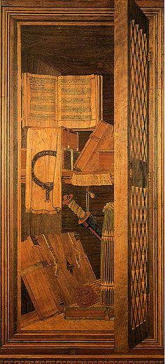 Benedetto da maiano (attr.) tarsie dallo studiolo di federico da montefeltro, urbino 2 - Studiolo di Federico da Montefeltro - Wikipedia