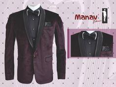 An attire that grabs the spotlight. Wine coloured Polka dot Velvet Suit with black tuxedo shirt. www.manavethnic.com