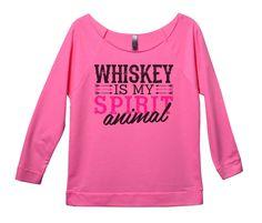 Whiskey Is My Spirit Animal Womens 3/4 Long Sleeve Vintage Raw Edge Shirt