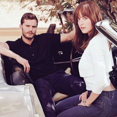 This is hot, hot, hot! Jamie Dornan and Dakota Johnson in new photo!! Love these sports car pictures!!  50 Shades of Christian and Ana