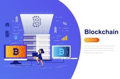 Cryptocurrency and Blockchain Modern Flat Concept - Design Template Place Page Template, Templates, Concept Web, Mobile Security, Web Banner, Design Trends, Web Design, Blockchain, Cryptocurrency
