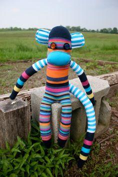 My Punk Monkey.  Cousin to the age old Sock Monkey. #sockmonkey #handmade