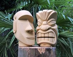 My first tiki (statue/sculpture) Tree Carving, Wood Carving Art, Wood Art, Tiki Statues, Wooden Statues, Tiki Totem, Tiki Tiki, Tiki Head, Tiki Lounge