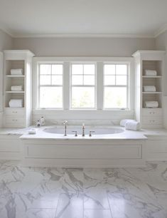 built-in storage on either side of tub. VT Interiors - Library of Inspirational Images