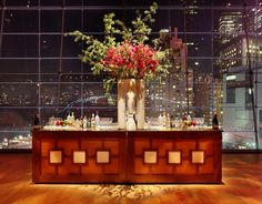 Choosing a Bar Style and Design for Your Event // Hostess with the Mostess® Jazz At Lincoln Center, Lounge Furniture, 10 Anniversary, Wood Bars, Wedding Reception, Reception Ideas, Event Decor, Skyline, The Incredibles