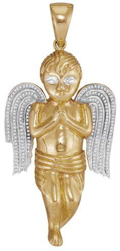 10kt Yellow Gold Mens Round Natural Diamond Angel Cherub Charm Pendant 5/8 Cttw