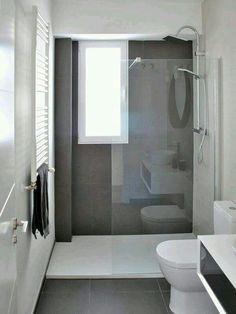 Bathroom renovation - Home Decor Bathroom Renos, Laundry In Bathroom, Grey Bathrooms, Modern Bathroom, Bathroom Green, White Bathroom, Master Bathroom, Long Narrow Bathroom, White Shower