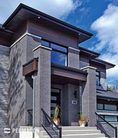 House exterior grey brick stones Ideas for 2019 Grey Brick Houses, Modern Brick House, Modern House Plans, Modern House Design, Modern Exterior House Designs, House Front Design, Best House Plans, Dream House Exterior, Facade House