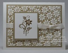 """By Darlene McCallum. Uses Stampin' Up """"Petals-A-Plenty"""" embossing folder with glitter. See video tutorial on her website."""