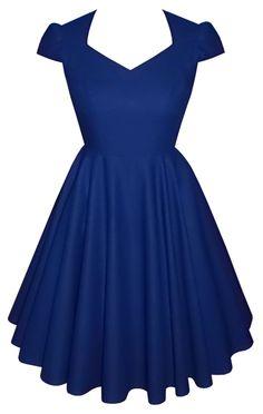 Full circle cap sleeve 'Daisy' in royal blue cotton