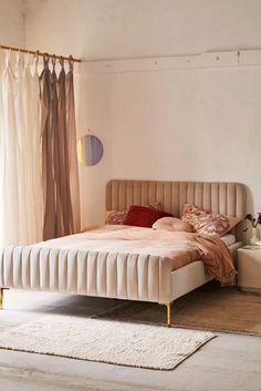 Marcella Velvet Bed in Grey Velvet Bed Frame, Velvet Headboard, Velvet Bedroom, Bed Frame And Headboard, Headboards For Beds, Bed Frames, Low Bed Frame, Apartment Furniture, My New Room