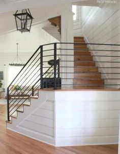 Home Remodeling Modern 80 Modern Farmhouse Staircase Decor Ideas - 80 Awesome Modern Farmhouse Staircase Decor Ideas Home Renovation, Home Remodeling, Farmhouse Stairs, Modern Farmhouse, Farmhouse Kitchens, Farmhouse Style, Staircase Railings, Bannister, Wrought Iron Railings