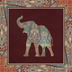 Rust Painting - Kashmir Patterned Elephant 3 - Boho Tribal Home Decor by Audrey Jeanne Roberts