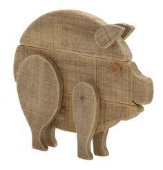 "Enthralling Wood Pig 17""W, 15""H"