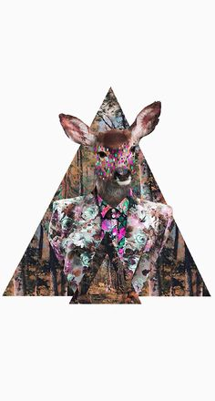 "It's a deer! In it's natural element. In a suit... covered in neon. We love it! New art from feature artist Kris Tate is now available as a wall decal! Size: 18"" x 19"""