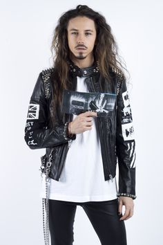 polish singer Michał Szpak is wearing Diesel Black Gold on his record's cover, pr Anna Fludra Biker, Photo Sessions, Poland, Bomber Jacket, Leather Jacket, Punk, Celebrities, My Style, Black Gold
