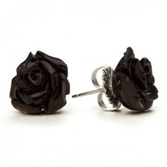 Best Selling Black Rose Earrings available at #InkedShop visit us online at www.inkedshop.com/black-rose-stud-earrings-by-rocklove-jewelry.html