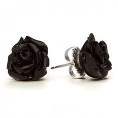 Black Rose Stud Earrings by RockLove Jewelry