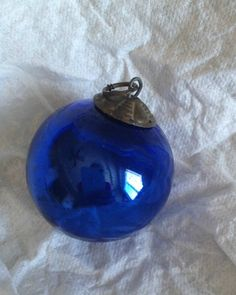 Antique Cobalt Blue Blown Glass Kugel Christmas Ornament