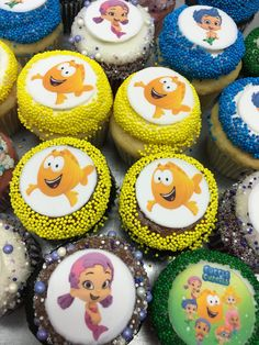 Custom Cupcakes, Mini Cupcakes, Bubble Guppies, Guppy, Bubbles, Desserts, Food, Personalised Cupcakes, Tailgate Desserts