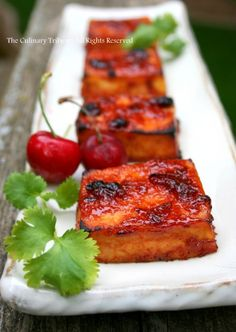 Tofu Grill. Smear generously the sauce on tofu and broil in oven until the sauce is thickened and caramelized around the edges of tofu.  Cherry BBQ sauce: ketchup, cherry preserves, cane sugar, white vinegar, soy sauce, Worcestershire sauce, ground mustard, cayenne pepper, garlic powder, salt, pepper