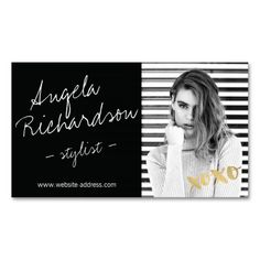 Chic Handwritten Fashion Stylist Actor Model Photo Business Card