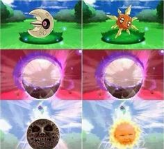 Mega Solrock and Mega Lunatone Confirmed! The Moon is from Majora's Mask And the Sun is from Teletubbies