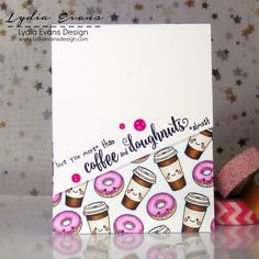 Coffee & Doughnuts Card Making Inspiration, Making Ideas, Coffee Theme, Coffee Cards, Paper Smooches, Cards For Friends, Handmade Birthday Cards, Lawn Fawn, Recipe Cards