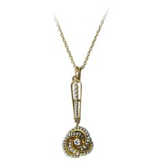 1920s Seed Pearl Diamond Gold Lavaliere Necklace | From a unique collection of vintage drop necklaces at https://www.1stdibs.com/jewelry/necklaces/drop-necklaces/