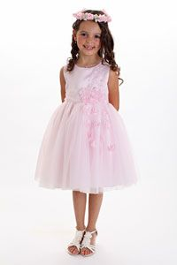 Flower Girl Dress Style 068 - SALE- Pink Floral Satin and Tulle Dress