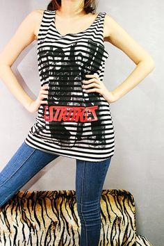 The Strokes Garage Indie Rock Striped Singlet Tank Top T-Shirt Women Size M L. $15.99, via Etsy.