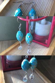 These beads are the color of the sea mixed with gold flakes, they remind me of the sand & sea. Handmade in Alberta. Flakes, Handmade Jewelry, Turquoise, Sea, Drop Earrings, Gold, Blue, Handmade Jewellery, Green Turquoise