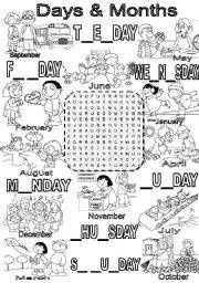 English Exercises: Months - a wordsearch