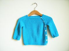 Bamboo newborn sweater. Turquoise blue baby by ATLASKNITSHOP, $29.00