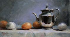 Silver and Eggs by Kathy Tate Oil ~ 10 x 18