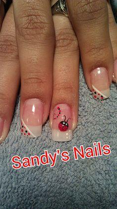 A lil lady bug Pedicure Designs, Diy Nail Designs, Seasonal Nails, Holiday Nails, Nails Now, My Nails, Cute Nails, Pretty Nails, Ladybug Nails