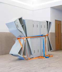 Matias Faldbakken, untitled (Locker Sculpture #2), 2011, Sheet steel cupboard, lashing straps.