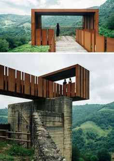 This Cantilevered Lookout Has Views Of An Old Mine In Spain This striking walkway and lookout at an old mining site near Riosa, Spain, is made from concrete, rusty steel and recycled wood, and acts as a rest stop and viewing point for visitors. Plans Architecture, Canopy Architecture, Landscape Architecture Design, Landscape Plans, Architecture Facts, Landscape Bricks, Natural Architecture, Enterprise Architecture, India Architecture