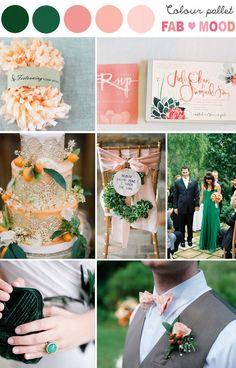 Emerald & Peach Wedding Colour Palette | fabmood.com