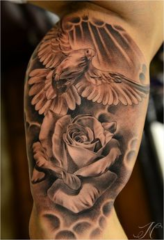 Dove rose tattoo inner upper arm by Noah