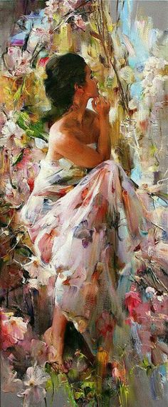 Michael Garmash, beautiful romantic lady painting, with flowers. Please also visit www. for colorful inspirational Prophetic Art and stories. Art Prophétique, Woman Painting, Painting & Drawing, Painting With Oils, Painting Classes, Painting Lessons, Prophetic Art, Inspiration Art, Fine Art